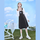 Women's large Spring 2021 Suspender skirt - black, shirt - white Large XL, 2XL, 3XL, 4XL DZ11411 10. DAA / Xiada