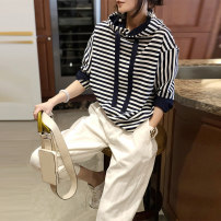 Casual pants white S,M,L Spring 2021 Ninth pants Straight pants High waist commute routine 30-34 years old Saimeiyi Korean version