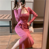 Dress Autumn 2020 Rose, black, coffee Average size Mid length dress singleton  Long sleeves commute square neck High waist Solid color Socket One pace skirt routine T-type Korean version