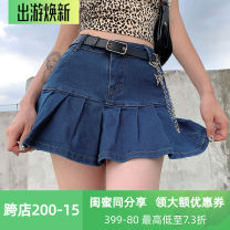 skirt Autumn 2020 S,M,L Dark blue, light blue, rose red Short skirt street High waist A-line skirt Solid color Type A 18-24 years old HJD3631V0F 91% (inclusive) - 95% (inclusive) Denim cotton Lotus leaf edge Europe and America