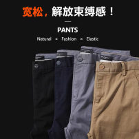Casual pants Others Business gentleman Apricot, green, black, blue 1XL (155-179 kg), 2XL (180-199 kg), 3XL (200-219 kg), 4XL (220-239 kg), 5XL (240-259 kg), 6xl (260-280 kg) routine trousers go to work easy Micro bomb autumn Large size middle-waisted Straight cylinder Overalls Solid color