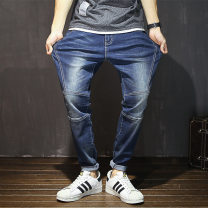 Jeans Youth fashion Others Blue, black routine Super high elasticity Regular denim trousers Travel? autumn Large size middle-waisted Little straight foot zipper washing