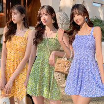 Split swimsuit Baiya The lake is blue, yellow and green M [75-95 Jin], l [95-105 Jin], XL [105-130 Jin] Skirt split swimsuit With chest pad without steel support polyester fiber female Crew neck