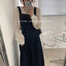 Dress Spring 2021 blue Average size longuette singleton  Sleeveless commute square neck High waist Solid color Socket A-line skirt straps 18-24 years old Type A Other / other Lace up Denim cotton