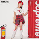 Children's performance clothes Top + skirt, top + skirt + kerchief + socks, white top, red plaid skirt female 110cm,120cm,130cm,140cm,150cm,160cm,170cm Becker's house Class B BK1956 Five, six, seven, eight, nine, ten, eleven, twelve, thirteen, fourteen