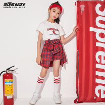 Children's performance clothes Top + skirt, top + skirt + kerchief + socks, white top, red plaid skirt female 110cm,120cm,130cm,140cm,150cm,160cm,170cm Becker's house Class B BK1956 Five, six, seven, eight, nine, ten, eleven, twelve, thirteen, fourteen
