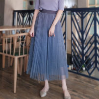 skirt Spring 2021 S,M,L,XL black , white , Champagne , Haze blue , Brick red , Candy powder , Haze blue two layer yarn + Lining , Black two layer yarn + Lining , Dark night purple , Dark night Mid length dress commute High waist Pleated skirt Solid color Type A LS022513 Chiffon Boglia / boglia