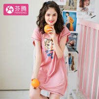 Nightdress Finthen  Blue, gray, pink 155(S),160(M),165(L),170(XL),175(XXL) Cartoon Short sleeve Leisure home Middle-skirt summer Cartoon animation youth Crew neck cotton printing More than 95% Knitted cotton fabric