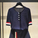 T-shirt navy blue 2 = s, 3 = m, 4 = L, 5 = XL Summer 2020 Short sleeve Crew neck Self cultivation Regular routine commute cotton 71% (inclusive) - 85% (inclusive) 25-29 years old Korean version classic Color matching Xgirdearst / heathy Hollowing out