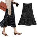 skirt Summer 2021 S [waist 1'9], m [waist 2's], l [waist 2'1], XL [waist 2'2], 2XL [waist 2'3] Black, white, black plush and thickened Mid length dress commute High waist A-line skirt Dot Type A 18-24 years old 31% (inclusive) - 50% (inclusive) other polyester fiber zipper Ol style