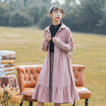 Dress Autumn 2020 Lotus root Pink M,L,XL,2XL Mid length dress singleton  Long sleeves commute Polo collar Solid color Single breasted Pleated skirt bishop sleeve Type A Korean version Bow, button corduroy polyester fiber