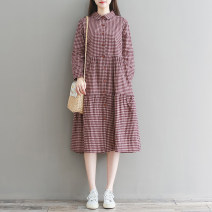 Dress Spring 2020 Blue MIG, red MIG M,L,XL,2XL Mid length dress singleton  Long sleeves commute Polo collar Loose waist lattice Single breasted A-line skirt shirt sleeve Type A literature Button 81% (inclusive) - 90% (inclusive) cotton