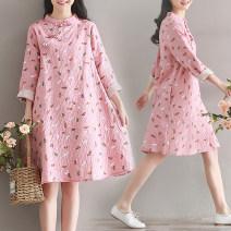 cheongsam Spring 2020 M,L,XL,2XL Lotus root color Long sleeves long cheongsam Retro No slits daily Oblique lapel Broken flowers cotton 71% (inclusive) - 80% (inclusive)