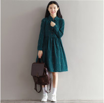 Dress Spring 2021 blackish green S,M,L,XL,2XL Mid length dress singleton  Long sleeves commute square neck Loose waist character Single breasted Big swing routine Others literature 71% (inclusive) - 80% (inclusive) other cotton