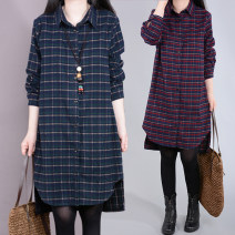 Women's large Spring 2021, autumn 2021 Green grid, red grid M (recommended below 115 kg), l (recommended 116-130 kg), XL (recommended 131-140 kg), 2XL (recommended 141-160 kg) shirt singleton  commute Straight cylinder thick Cardigan Long sleeves lattice Korean version Polo collar Medium length fold