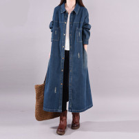 Women's large Spring 2021 Blue, black Large XL, large L Dress singleton  commute Straight cylinder moderate Cardigan Long sleeves Solid color literature Polo collar cotton other 30-34 years old 96% and above longuette