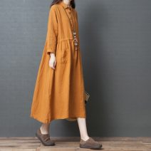 Dress Spring 2020 Orange, green M,L,XL,2XL Mid length dress singleton  Long sleeves commute Polo collar Loose waist Solid color other Big swing Other / other literature Pocket, lace up, stitching, bandage 51% (inclusive) - 70% (inclusive) cotton