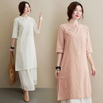 Dress Summer 2021 White, light blue, pink M,L,XL,2XL Mid length dress singleton  elbow sleeve commute stand collar Loose waist Decor Single breasted other routine Others Type H Retro Gouhua, hollow out, button, printing 51% (inclusive) - 70% (inclusive) other hemp