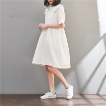 Dress Summer of 2019 White, yellow M,L,XL,2XL Mid length dress singleton  Short sleeve Sweet Doll Collar Loose waist Solid color Big swing Lotus leaf sleeve 18-24 years old Type A 91% (inclusive) - 95% (inclusive) other cotton college