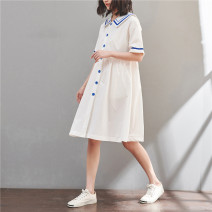 Dress Summer 2020 white M,L,XL,2XL Mid length dress singleton  Short sleeve Sweet Admiral Loose waist Single breasted Big swing routine Type A Pocket, button cotton college