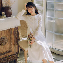 Dress Spring 2020 white S,M,L,XL Mid length dress singleton  Long sleeves commute Doll Collar middle-waisted Solid color Single breasted A-line skirt routine Others Type A literature 51% (inclusive) - 70% (inclusive)