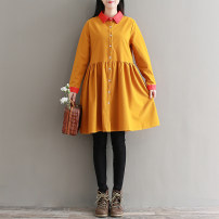 Dress Autumn of 2019 Ginger, dark green S,M,L,XL,2XL Mid length dress singleton  Long sleeves commute square neck Loose waist Solid color Single breasted A-line skirt shirt sleeve Others Type A literature 81% (inclusive) - 90% (inclusive) corduroy cotton