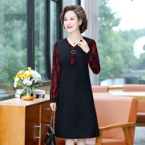 Middle aged and old women's wear Spring 2021 Yellow, red, green, elegant XL (90-105 kg recommended), 2XL (105-120 kg recommended), 4XL (135-145 kg recommended), 5XL (145-160 kg recommended) fashion Dress easy singleton  Solid color 40-49 years old Socket moderate V-neck Medium length routine other