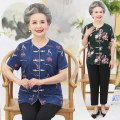 Middle aged and old women's wear Summer of 2019 leisure time suit easy Two piece set Flower and bird pattern Over 60 years old Cardigan thin other routine routine Button Cotton, others 81% (inclusive) - 90% (inclusive) Single breasted