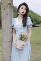 Dress Summer 2021 Blue, apricot XS,S,M,L,XL Mid length dress singleton  Long sleeves commute Crew neck High waist Broken flowers zipper Big swing 18-24 years old Type A lady