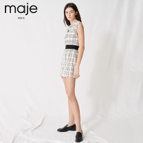 Dress Spring 2020 Light brown 40 38 36 34 Short skirt Sleeveless Sweet Crew neck middle-waisted lattice other other Others 25-29 years old MAJE 71% (inclusive) - 80% (inclusive) cotton college Same model in shopping mall (sold online and offline)