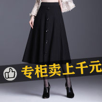 skirt Autumn 2020 Average size (recommended 85-145 kg) black longuette commute High waist A-line skirt Solid color Type A 25-29 years old 110iZof4Dgz5bJ polyester fiber Button