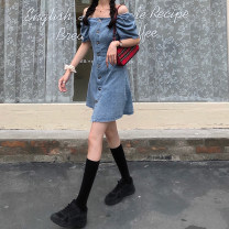 Dress Summer 2021 blue XS,S,M,L,XL Short skirt square neck High waist puff sleeve 18-24 years old 31% (inclusive) - 50% (inclusive) Denim