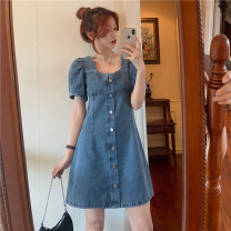 Dress Summer 2021 wathet S,M,L Miniskirt singleton  Short sleeve High waist Solid color other puff sleeve Others 18-24 years old Other / other cotton