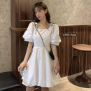 Dress Summer 2021 White, black S, M Short skirt singleton  Short sleeve commute square neck High waist Solid color Socket A-line skirt puff sleeve Others 18-24 years old Type A Other / other Korean version bow 51% (inclusive) - 70% (inclusive) other