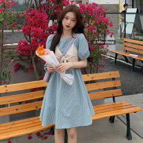 Dress Summer 2021 Blue, yellow Average size Mid length dress Two piece set Short sleeve commute Crew neck High waist lattice Socket A-line skirt puff sleeve Others 18-24 years old Type A Other / other Korean version 51% (inclusive) - 70% (inclusive)