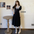 Dress Spring 2021 black S,M,L Mid length dress singleton  Short sleeve commute V-neck High waist Solid color Socket A-line skirt routine Others 18-24 years old Type A Other / other Korean version Stitching, lace 91% (inclusive) - 95% (inclusive) Chiffon polyester fiber