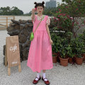 Dress Summer 2021 Pink floral top, blue floral top, pink suspender skirt, blue suspender skirt Average size Mid length dress Two piece set commute Crew neck High waist Solid color Socket A-line skirt Others 18-24 years old Type A Other / other Korean version 51% (inclusive) - 70% (inclusive) cotton