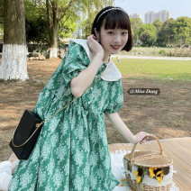 Dress Summer 2021 green Average size Mid length dress singleton  Short sleeve commute Doll Collar Loose waist Broken flowers Socket A-line skirt Lotus leaf sleeve Others 18-24 years old Type A Other / other Korean version Frenulum 51% (inclusive) - 70% (inclusive) Chiffon other
