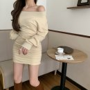 Dress Winter 2020 Apricot, grey, black Average size Short skirt singleton  Long sleeves Sweet One word collar High waist Socket Oblique shoulder 25-29 years old Type A 51% (inclusive) - 70% (inclusive) other cotton