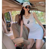 Dress Summer 2021 White, black S, M Short skirt singleton  Sleeveless commute Crew neck High waist Solid color Socket One pace skirt 18-24 years old Type H Korean version 5932#