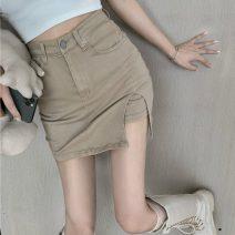 skirt Summer 2020 S,M,L Khaki, dark grey Short skirt 18-24 years old