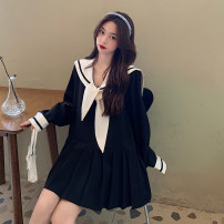 Dress Spring 2021 White, black One size, s, m, l, XL, XXL Short skirt singleton  Long sleeves Sweet Admiral High waist stripe Socket Pleated skirt routine 18-24 years old Type A Splicing 30% and below other college