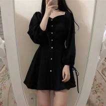 Dress Autumn 2020 black S. M, l, XL, 2XL, small gift for collection and recommendation Short skirt singleton  Long sleeves square neck Solid color Princess Dress polyester fiber