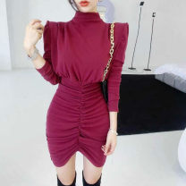 Dress Winter 2020 Black, red Average size Short skirt singleton  Long sleeves commute High collar High waist Solid color Socket One pace skirt routine Type H fold