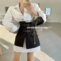 shirt White shirt + black skirt S, M Spring 2021 cotton 96% and above Long sleeves commute Medium length Polo collar Single row multi button puff sleeve Solid color Korean version Button pure cotton