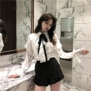 shirt white shirt S,M,L Winter of 2018 polyester fiber 96% and above Long sleeves commute Regular Single row multi button routine Solid color 18-24 years old Straight cylinder Other / other court 1750# bow