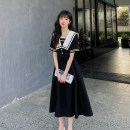 Dress Summer 2021 black XS,S,M,L,XL longuette singleton  Short sleeve commute Admiral High waist Solid color Socket A-line skirt routine Others Type A Other / other Korean version Lace up, panel, button 81% (inclusive) - 90% (inclusive)