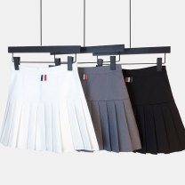 skirt Summer 2021 S,M,L,XL Gray, cream, black Short skirt Versatile High waist Pleated skirt Solid color Type A 18-24 years old XXJ810 81% (inclusive) - 90% (inclusive) other Ocnltiy cotton