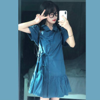 Dress Summer 2021 M-means code longuette singleton  Short sleeve commute Polo collar High waist Solid color Single breasted A-line skirt routine Others 18-24 years old Caidaifen Korean version Button More than 95% other Other 100% Pure e-commerce (online only)