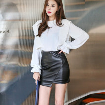 skirt Winter of 2019 XS,S,M,L black Short skirt commute High waist skirt Solid color Type O 25-29 years old 91% (inclusive) - 95% (inclusive) PU Korean version